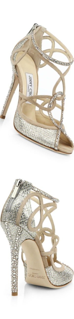 Jimmy Choo Swarovski Crystal-Covered Suede Sandals