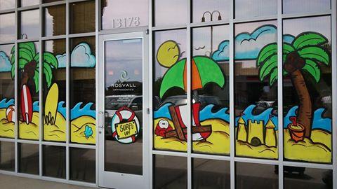 Whimsical Window Painting: Rosvall Orthodontics Herriman ...