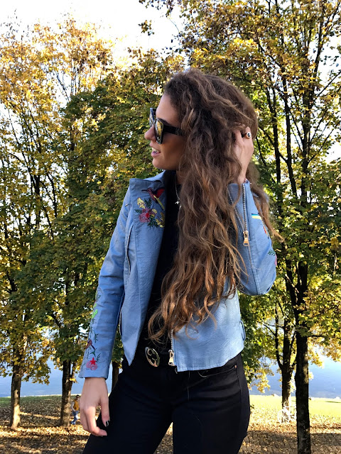 embroidered light blue leather jacket, fashion need, valentina rago blog, valentina rago, fashion need blog, snowing munich, olympiapark munchen, embroidered jacket, zaful