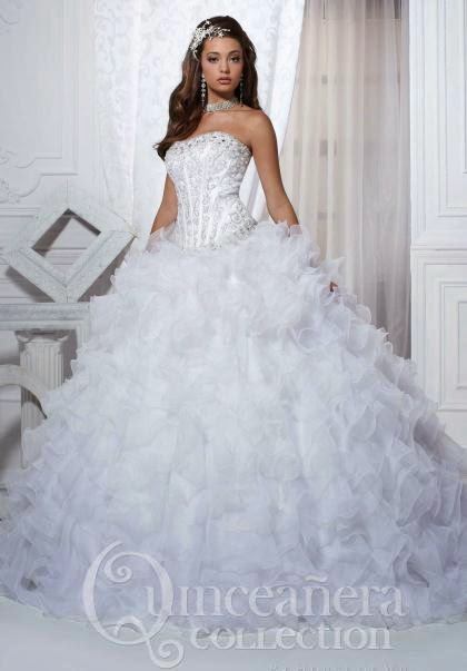 5d15d62cc1e Sources from top to bottom  All White Quinceanera Dress