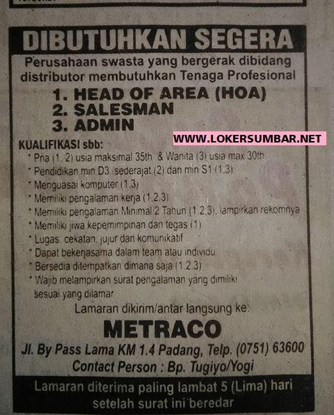 Lowongan Kerja di Padang – Metraco – 3 Posisi (September 2016)