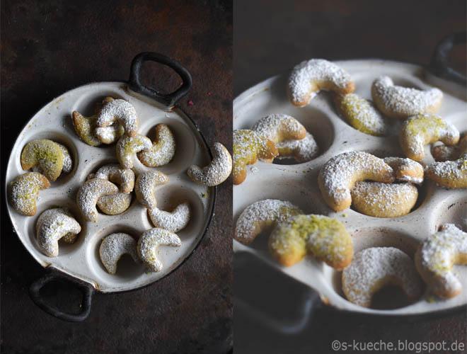 Vanillekipferl mit Pistazien und Haselnüssen