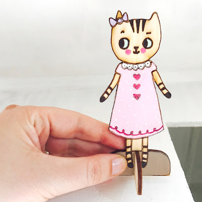 Zoe the Cat Wooden Dollhouse Doll