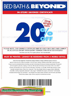 Free Printable Bed Bath and Beyond Coupons