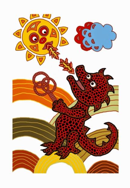 Illusztráció gyerekvershez, a varánusz formájában létező komodói sárkány piros porolóval a kezében tüzet fúj a Napra, az tüzesen visszalehel rá.