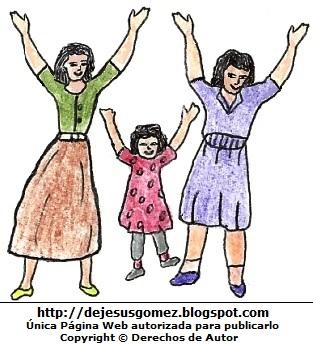 Dibujo de mujeres levantando las manos y pintado a colores. Dibujo de Mujeres levantando la mano de Jesus Gómez
