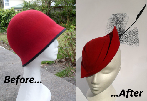 Before and after photos of a red felt hat makeover