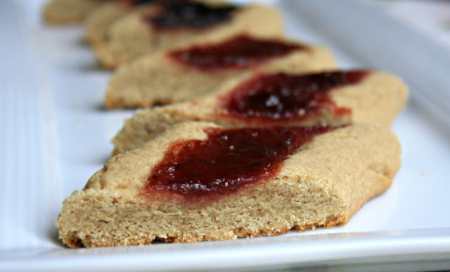 Jelly slices - old fashioned whole grain sugar cookies filled with a dollop of jam.