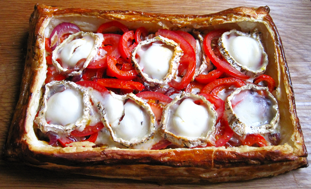 Tomato and Pepper Tart with Chilli Jam and Goats Cheese