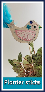 Bird themed planter sticks craft
