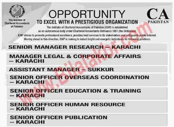 Jobs Opportunities In CA Pakistan  November 2018