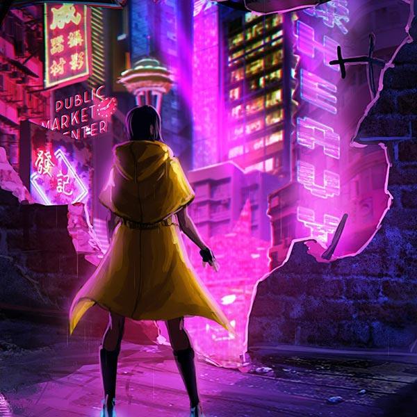 Cyberpunk City Girl Audio Responsive Wallpaper Engine