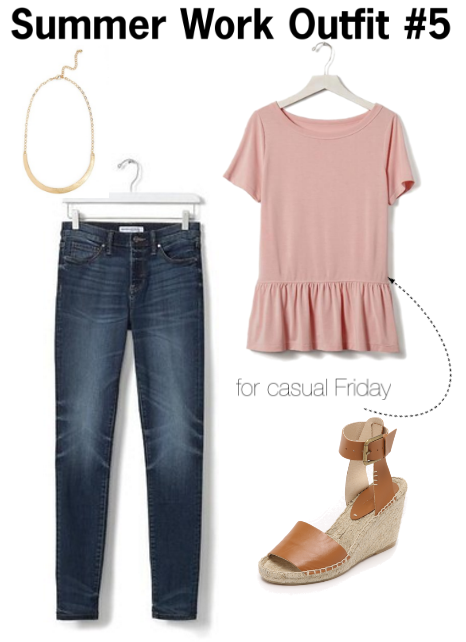 what to wear to work this summer | what to wear on casual Friday | cute outfits for summer | cute work outfits for summer | a memory of us | pink peplum top | espadrilles wedges | what to wear for casual friday at the office