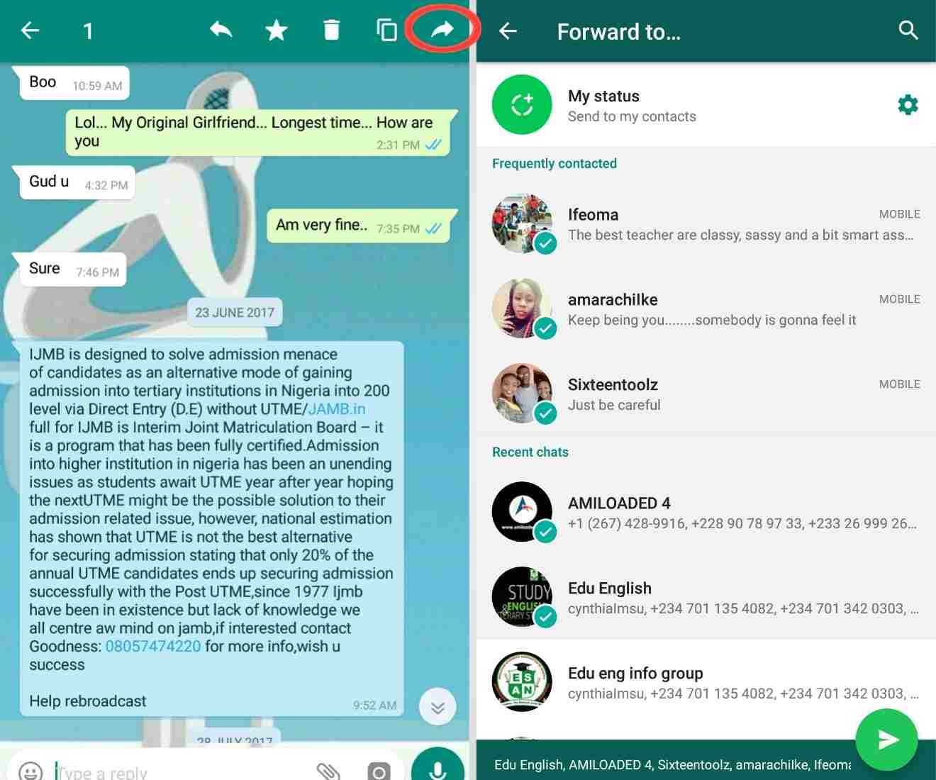 whatsapp tricks 101 - how to forward a single message to multiple number of persons at once on whatsapp