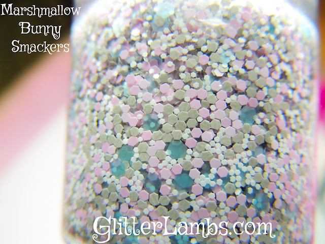 """Here is the bottle shot of Glitter Lambs """"Marshmallow Bunny Smackers"""" glitter topper nail polish. I took this picture inside under a lamp light."""