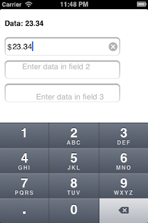 iOS UITextField with numeric data entry and view overlay