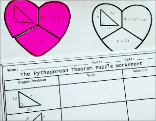 The Pythagorean Theorem Valentine's Day Cut, Paste, Solve, Match Puzzle