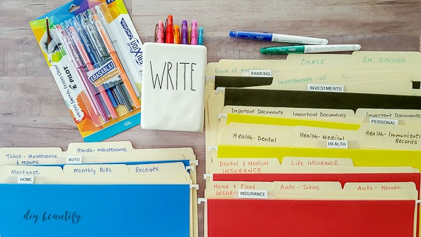 color code your home office files