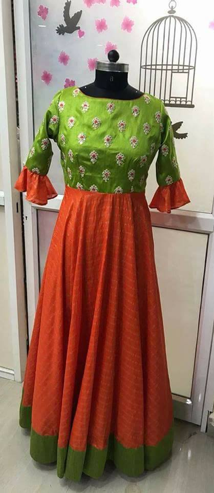 Orange Green Floor Length Frock