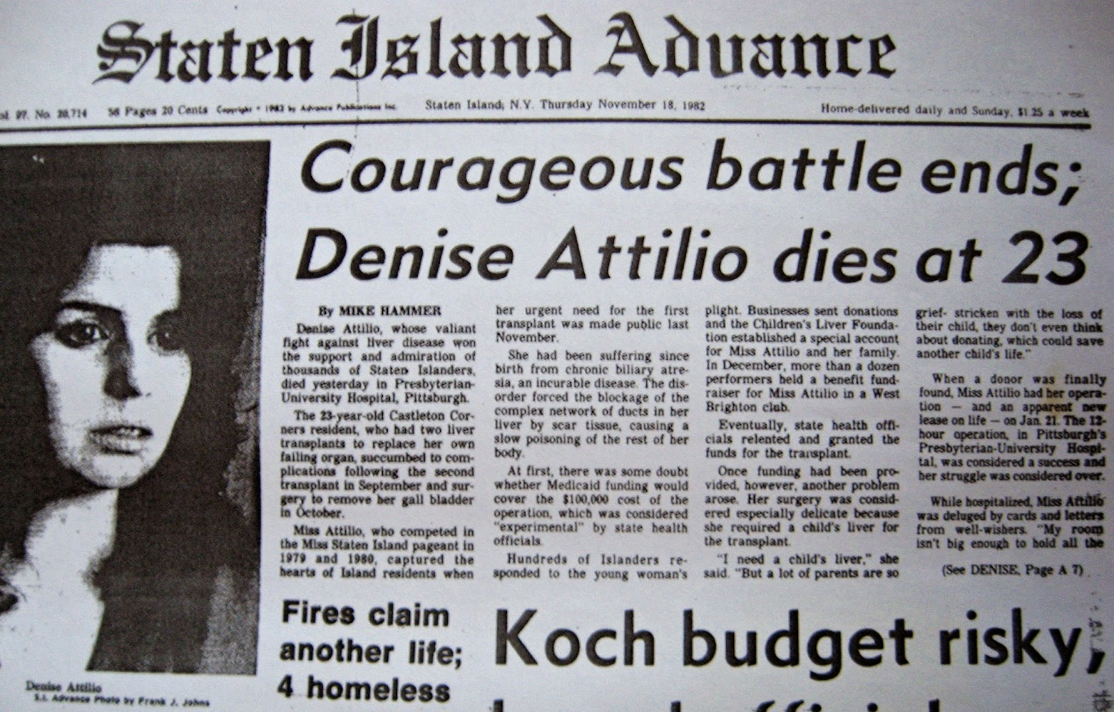 Denise Attilio leaves us at 23... Staten Island Advance article November 18, 1982