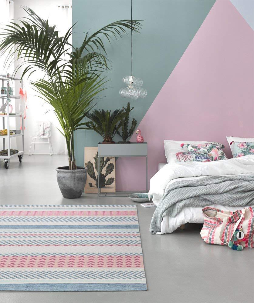 Tapis kilim Pastella Accessorize, turquoise, vert d'eau, beige et rose, 100% pure laine, 200 x 290 cm