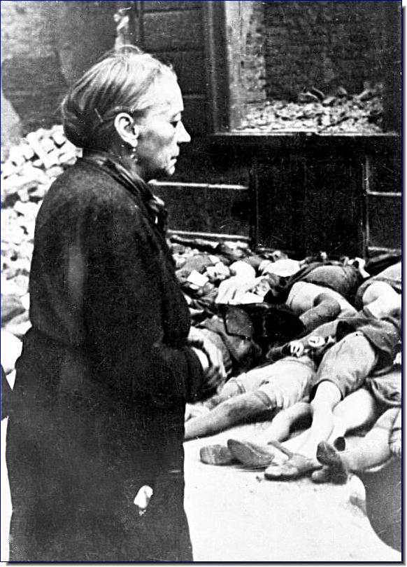 Braunschweig, Germany elderly German lady watches bodies German boys killed Allied air raids