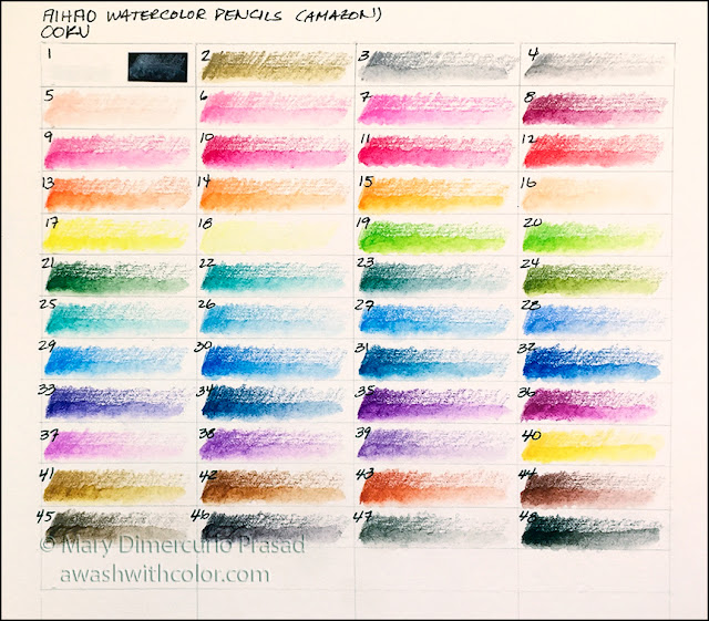 OOKU Watercolor Pencil Swatch Chart