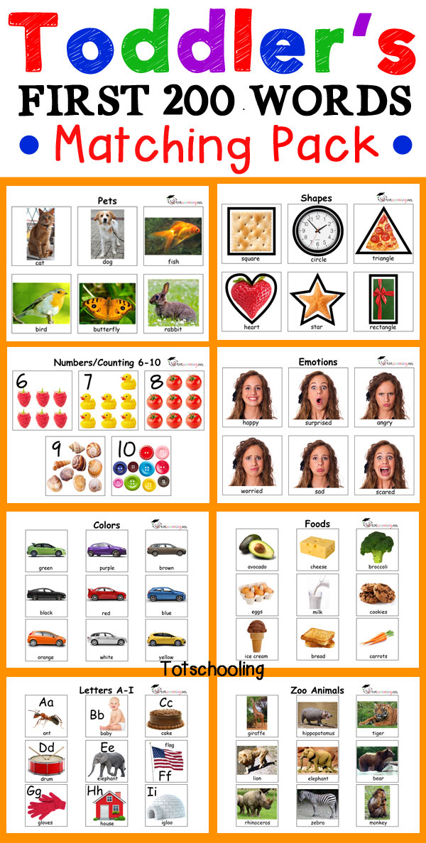 Toddler matching activities for tot school to encourage speech and language development, vocabulary and early learning concepts such as the alphabet, numbers, color, shapes, animals, foods, emotions and more. 200 real photographs makes learning easy and fun!