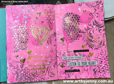 Finished art journal page by Jenny James - golden hearts with pink and purple