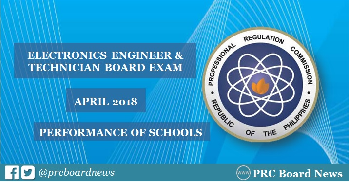 April 2018 Electronics Engineer ECE, ECT board exam result: performance of schools