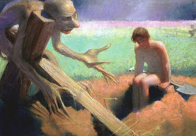 a 1947 Stefan Żechowski painting of a demon convincing a boy to die