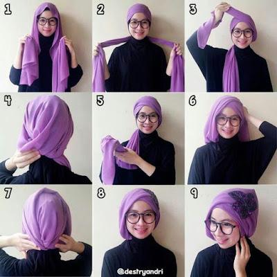 Tutorial Hijab Turban Pashmina Modern Gaya #2 Chic Dengan Aksesoris Kepala