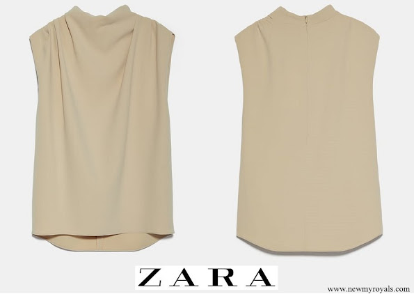 Queen Maxima wore Zara sleeveless high-neck shirt