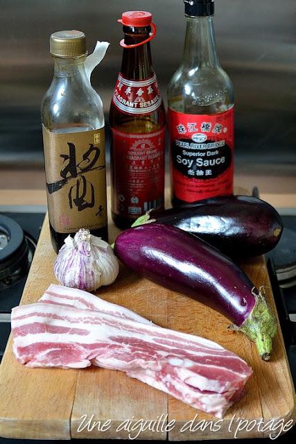Ingrédients pour aubergines sautées au porc, à la chinoise