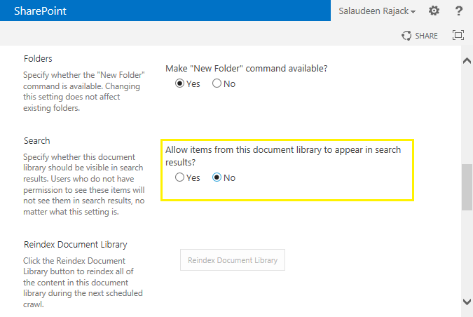 sharepoint 2013 search exclude list