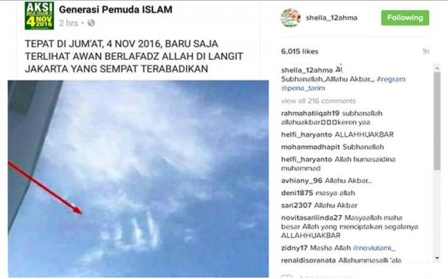 Foto Langit Berlafadz Allah di Aksi Damai 4 November Hebohkan Netizen