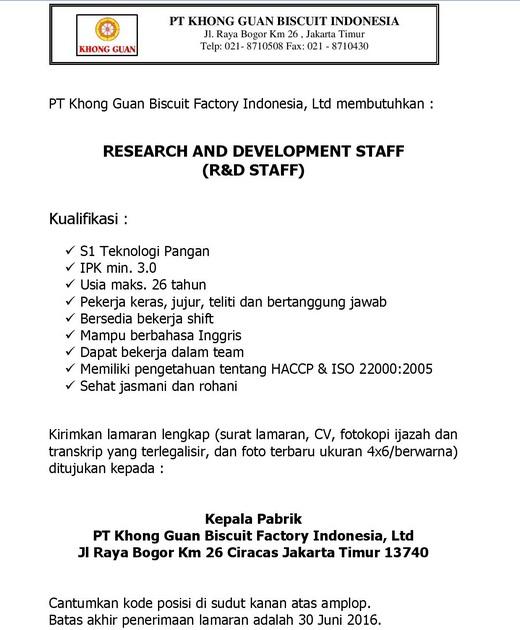 Lowongan Kerja R&D Staff PT Khong Guan Biscuit Factory Indonesia, Ltd
