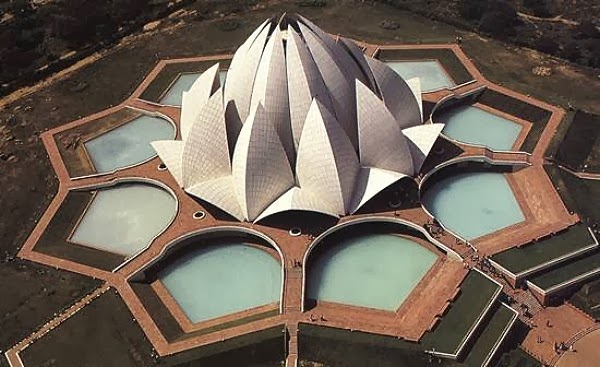 helicopter view of lotus temple
