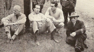 Alberto Ascari (centre), pictured a few weeks before his fatal crash with his friends Luigi Villoresi (left), Eugenio  Castellotti (right) and the famous engineer Vittorio Jano.