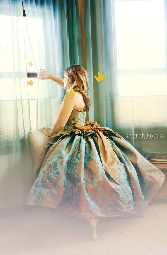 Beautiful Blue And Gold Jacquard Victorian Wedding Dress Handmade