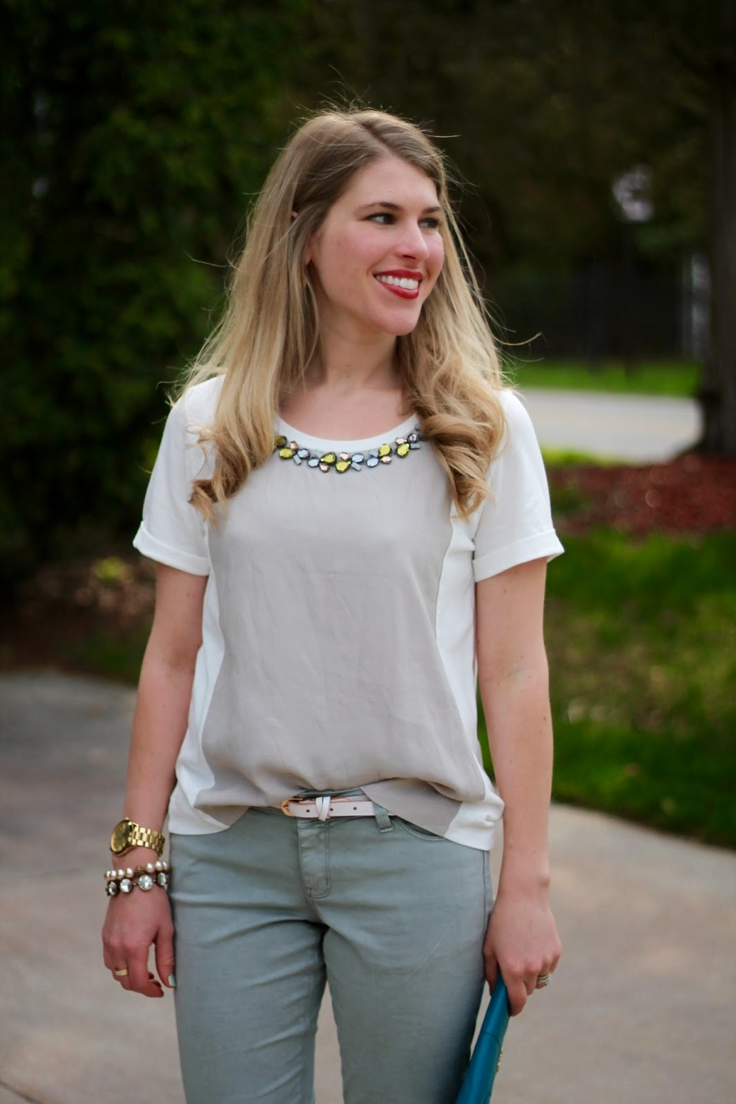 grey jeans jeweled collar light neutral top turquoise heels