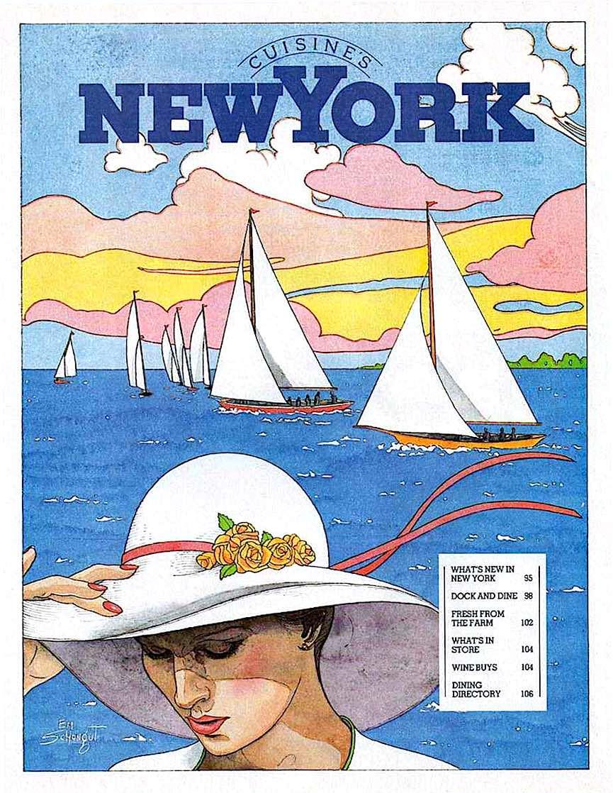 a 1970s Emanuel Schongut watercolor illustration for Cuisine's NewYork, sailboats