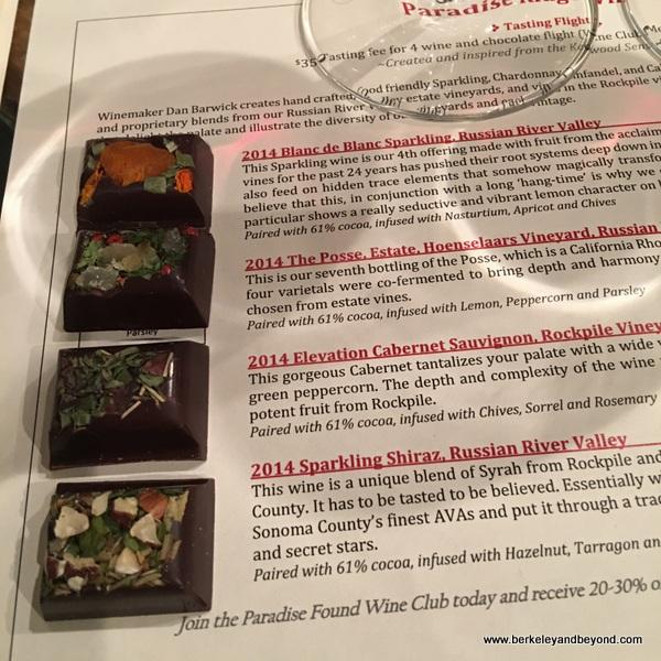 menu in tasting room at Paradise Ridge Tasting Room & Art Gallery in Kenwood, California