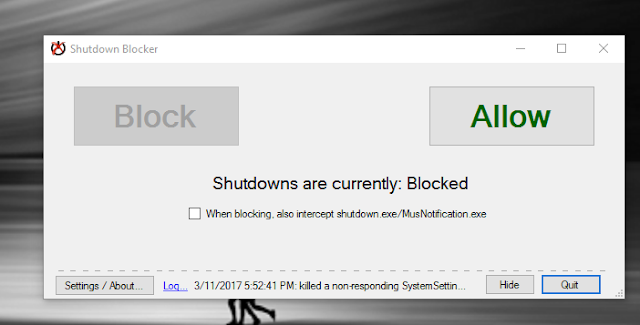 blokir shutdown