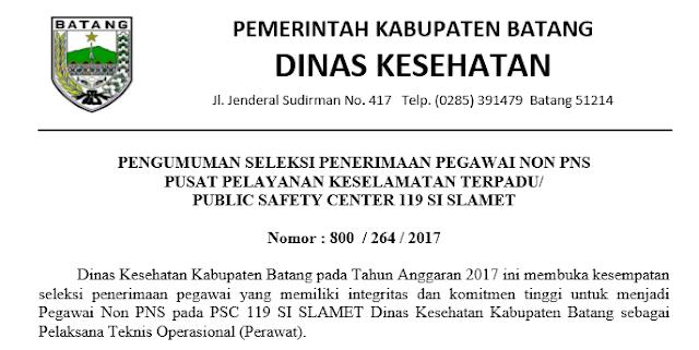Pengumuman Penerimaan Pegawai NON PNS Pusat Pelayanan Kesehatan Terpadu Pemkab Batang