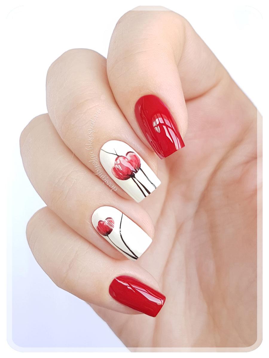 Красно белый маникюр с цветами (54 фото)