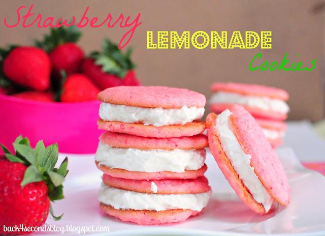 Strawberry Lemonade Cookies https://backforseconds.com #whoopiepie #cookiesandwich #frosting #lemonade #pink #strawberry