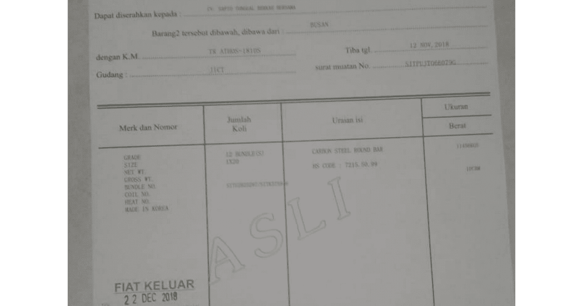 Contoh Surat Pengambilan Do Delivery Order Container