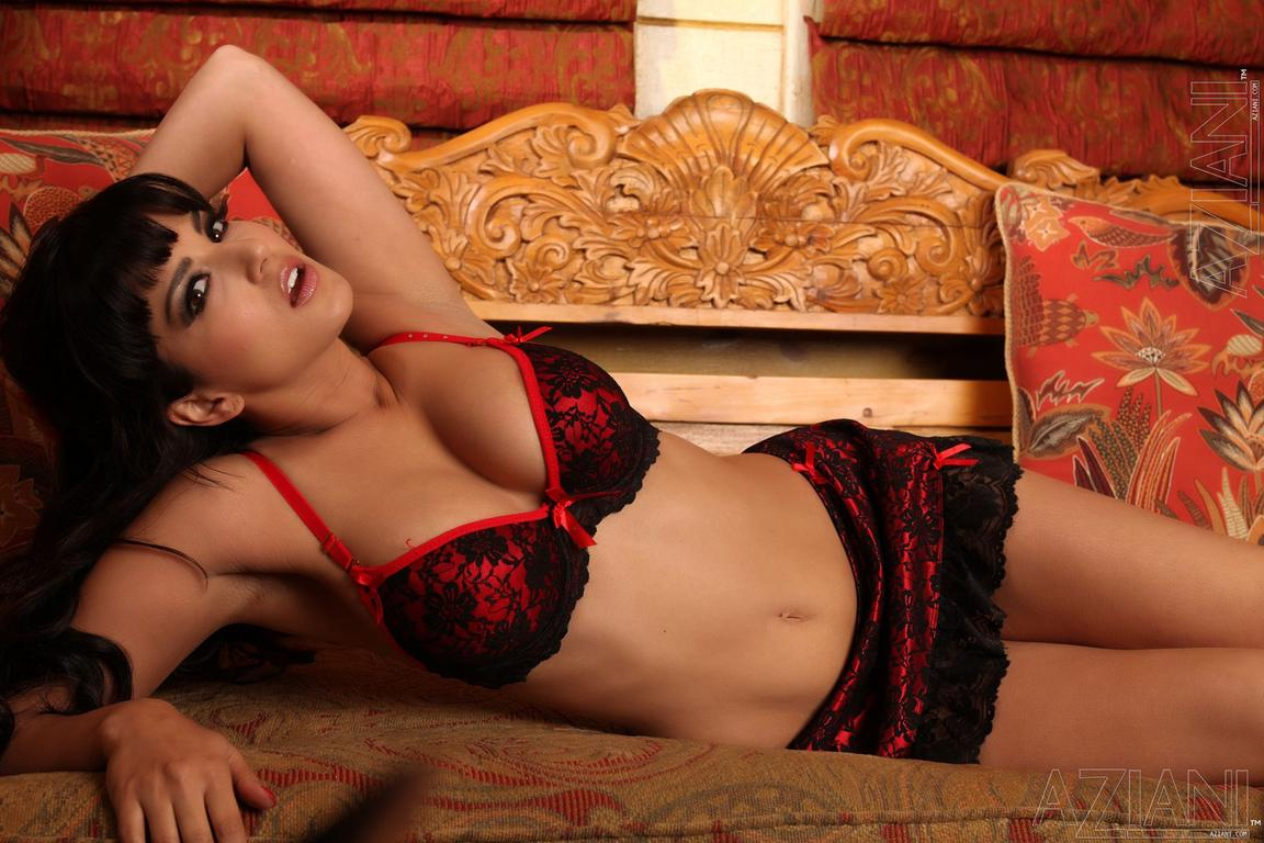 Ebony in red lingerie dirty fucking