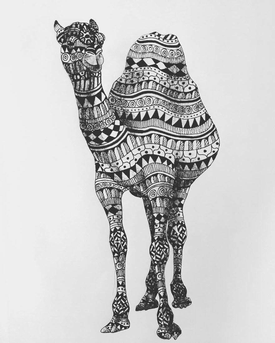 04-Camel-Savanna-Zentangle-Wild-Animal-Drawings-www-designstack-co